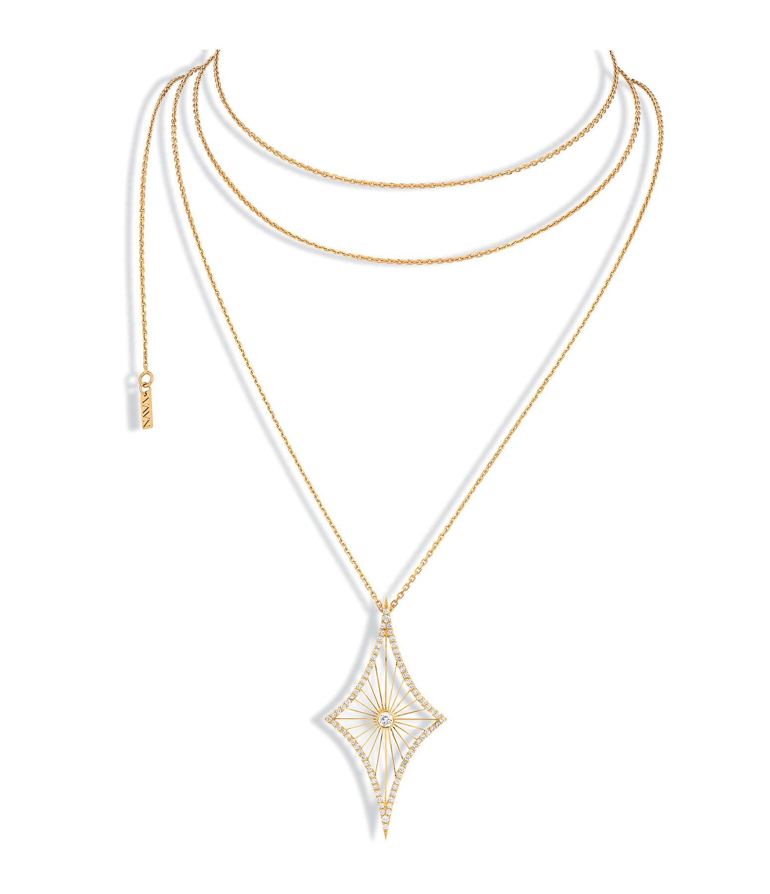NAVA JOAILLERIE - Sautoir Cheyenne Losange Diamants Or Jaune