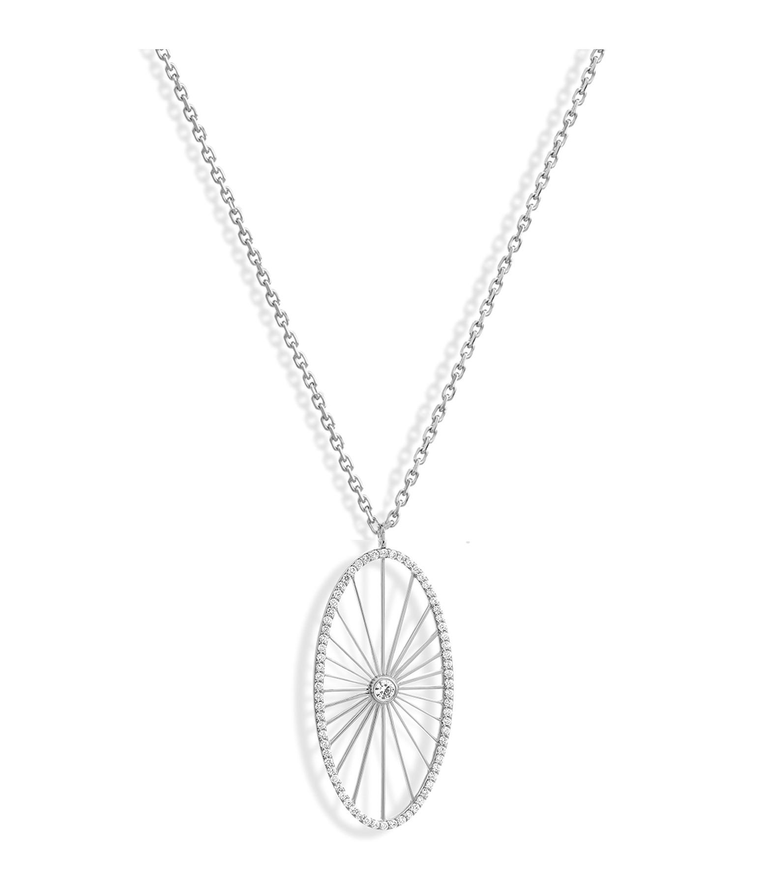 NAVA JOAILLERIE - Sautoir Cheyenne Ovale Diamants Or Blanc