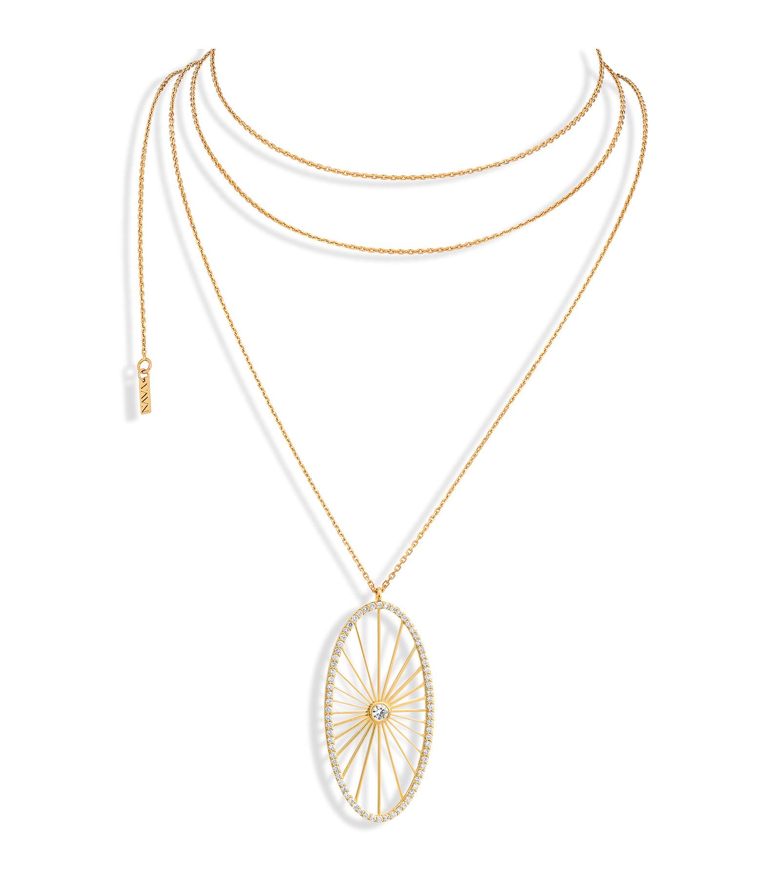 NAVA JOAILLERIE - Sautoir Cheyenne Ovale Diamants Or Jaune
