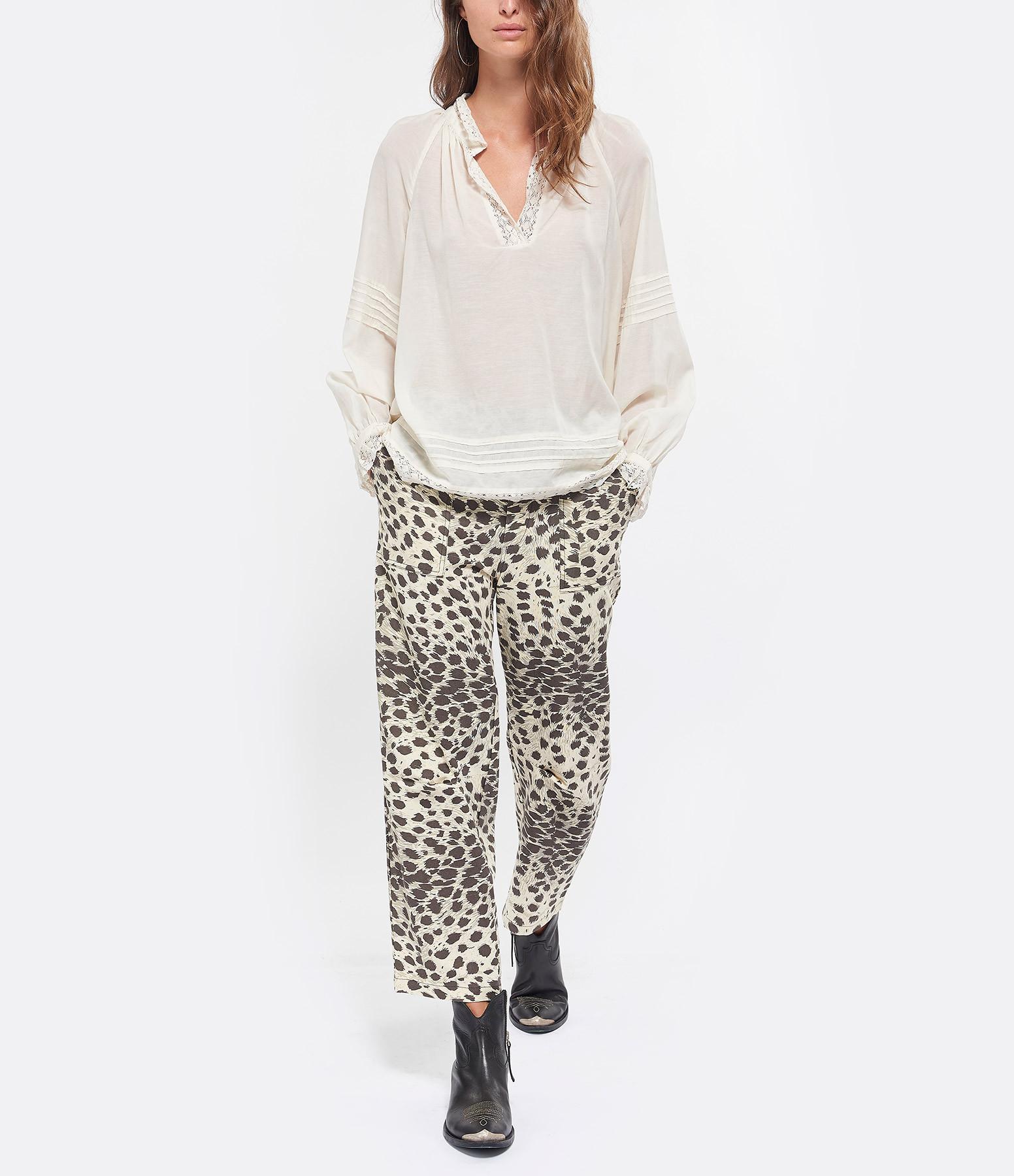 SEA NEW YORK - Pantalon Coton Léopard Naturel