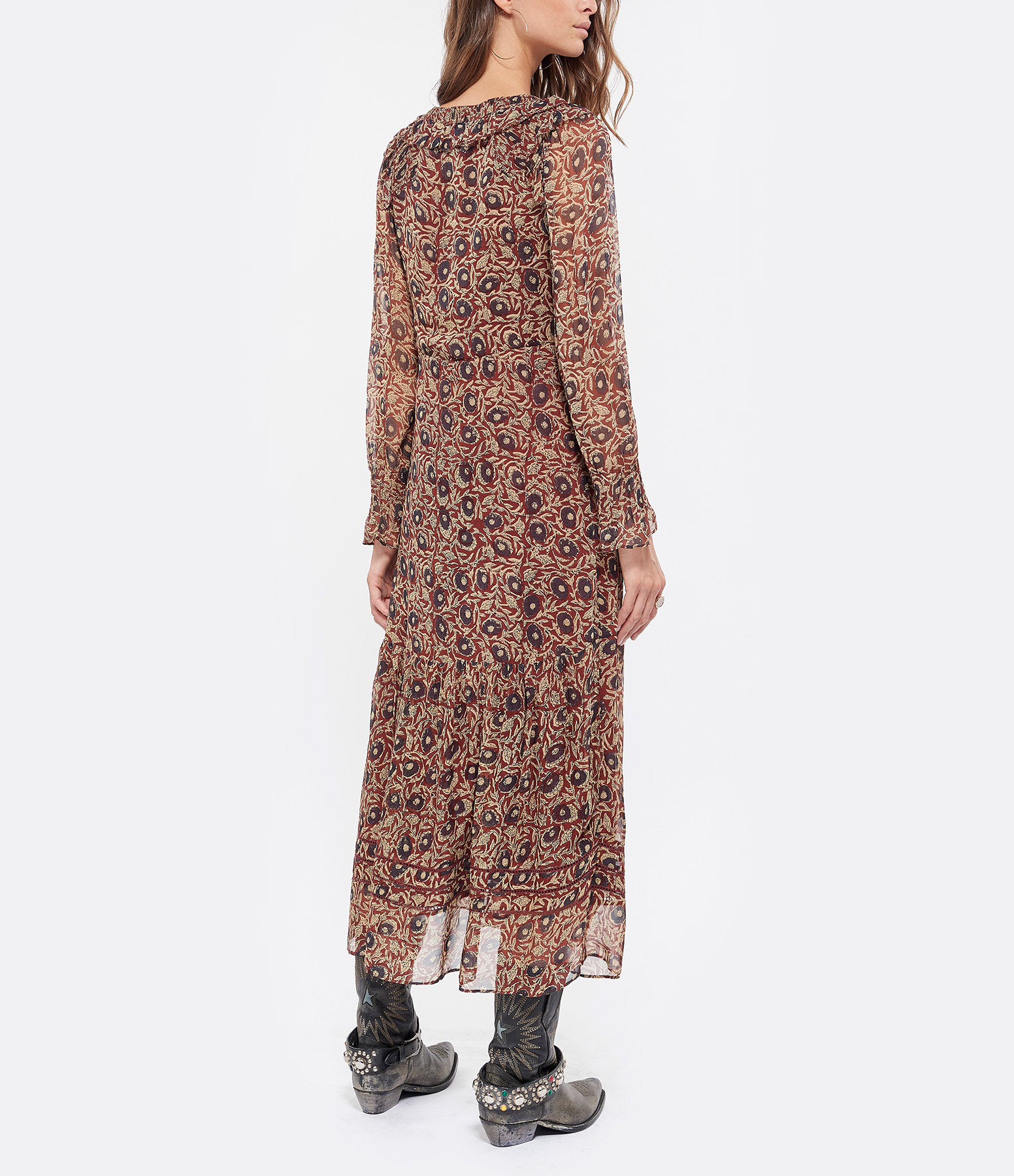 SEA NEW YORK - Robe Longue Imprimé Fleur Brique