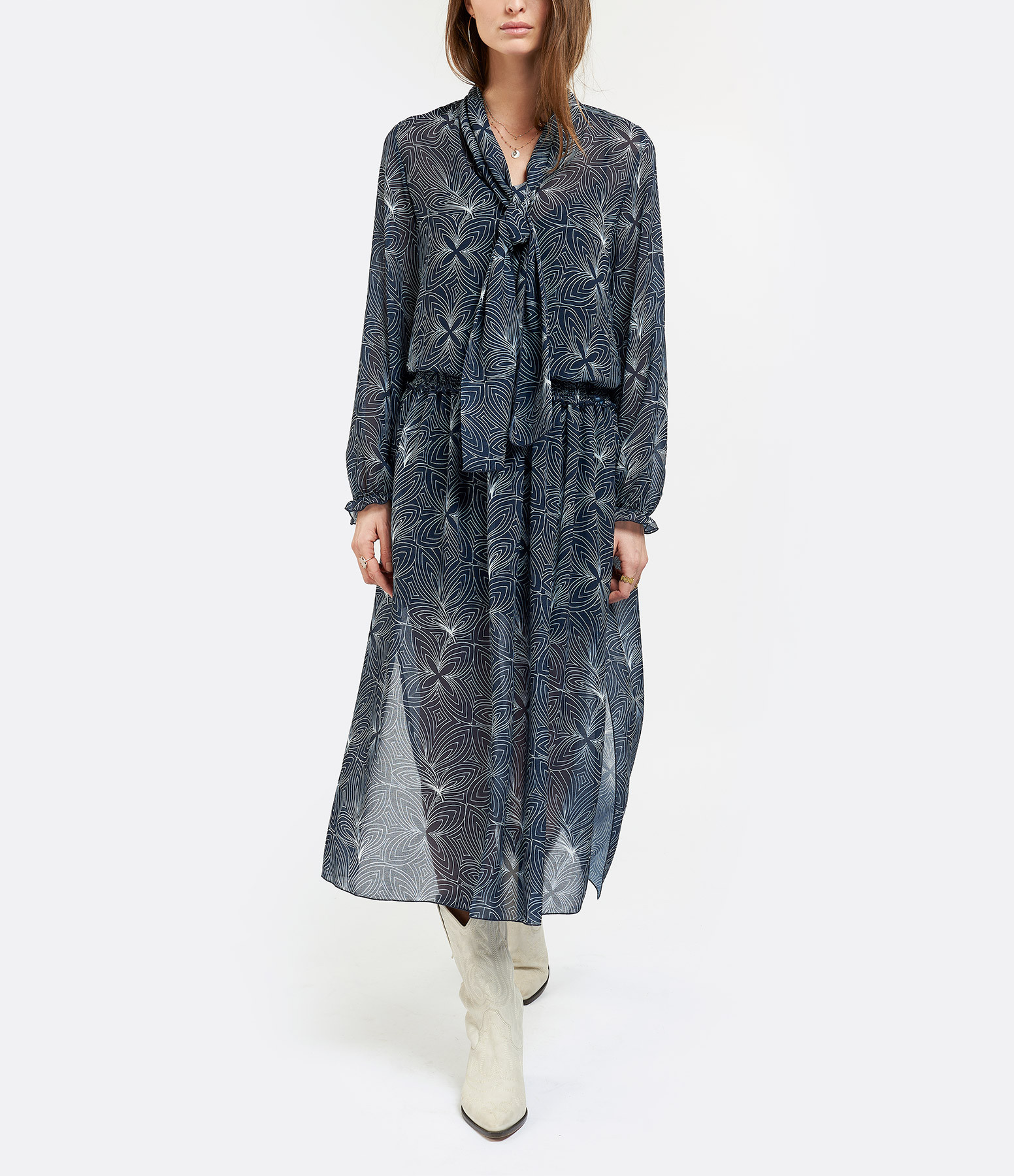 SEE BY CHLOE - Robe Longue Imprimé Blanc Bleu