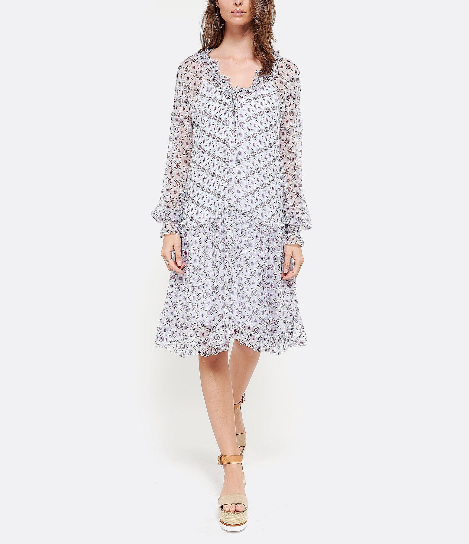 SEE BY CHLOE - Robe Transparente Soie Imprimé Blanc