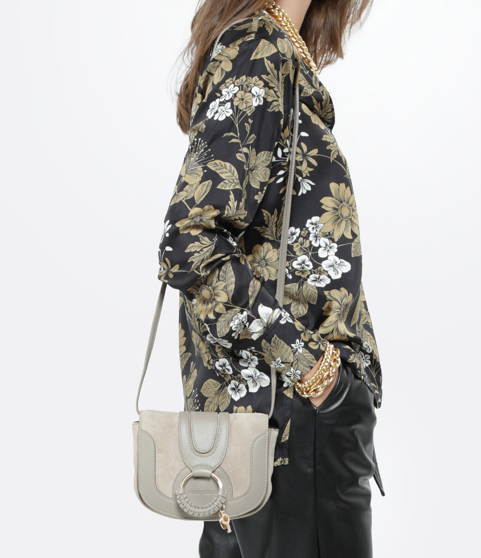 SEE BY CHLOE - Sac Hana Mini Double Cuir Motty Grey