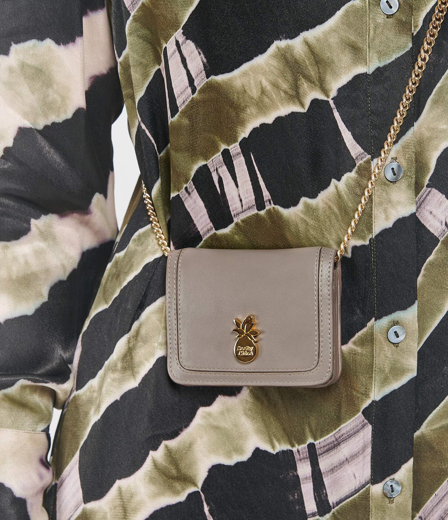 SEE BY CHLOE - Pochette Pineapple Cuir Motty Grey