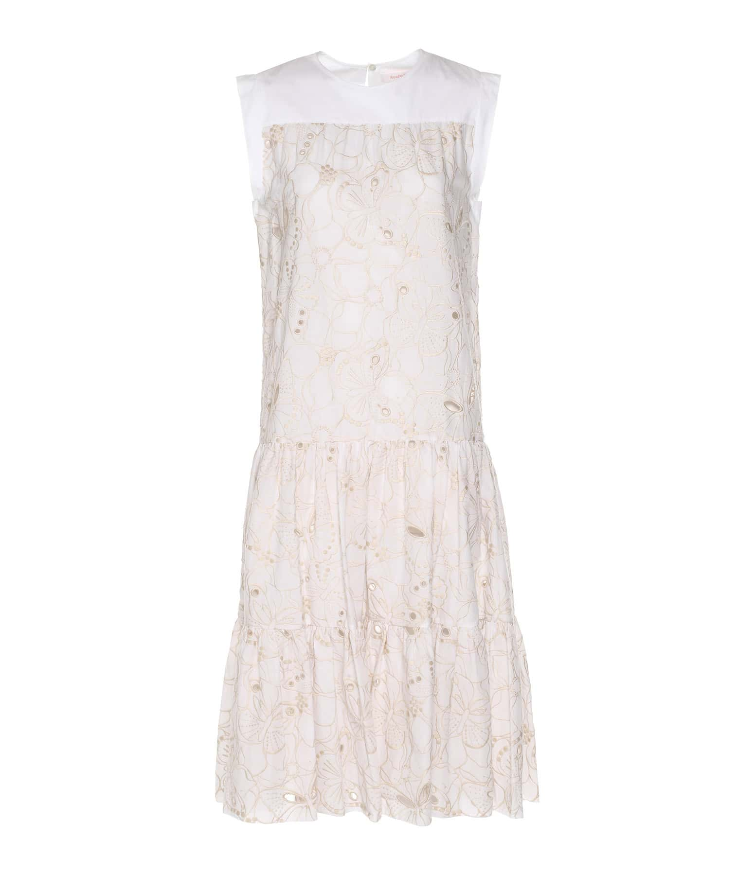 SEE BY CHLOE - Robe Broderie Coton Blanc Beige