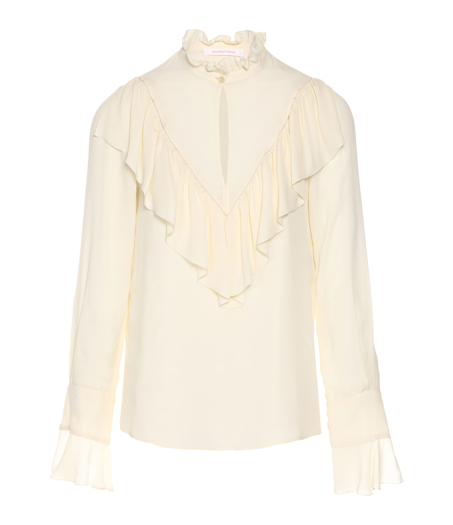 SEE BY CHLOE - Blouse Col Volants Perle Ivoire