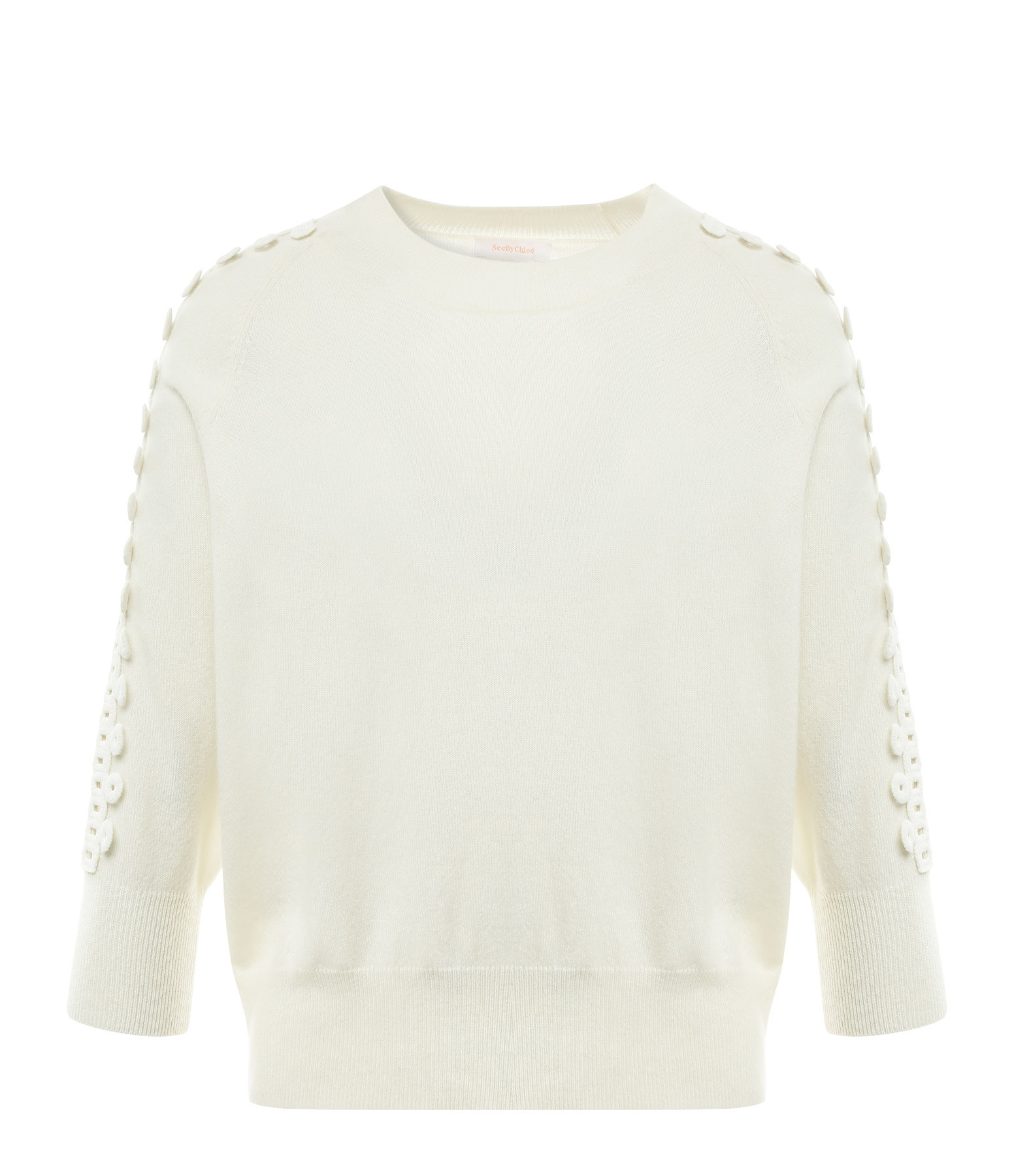 SEE BY CHLOE - Pull Col Rond Blanc