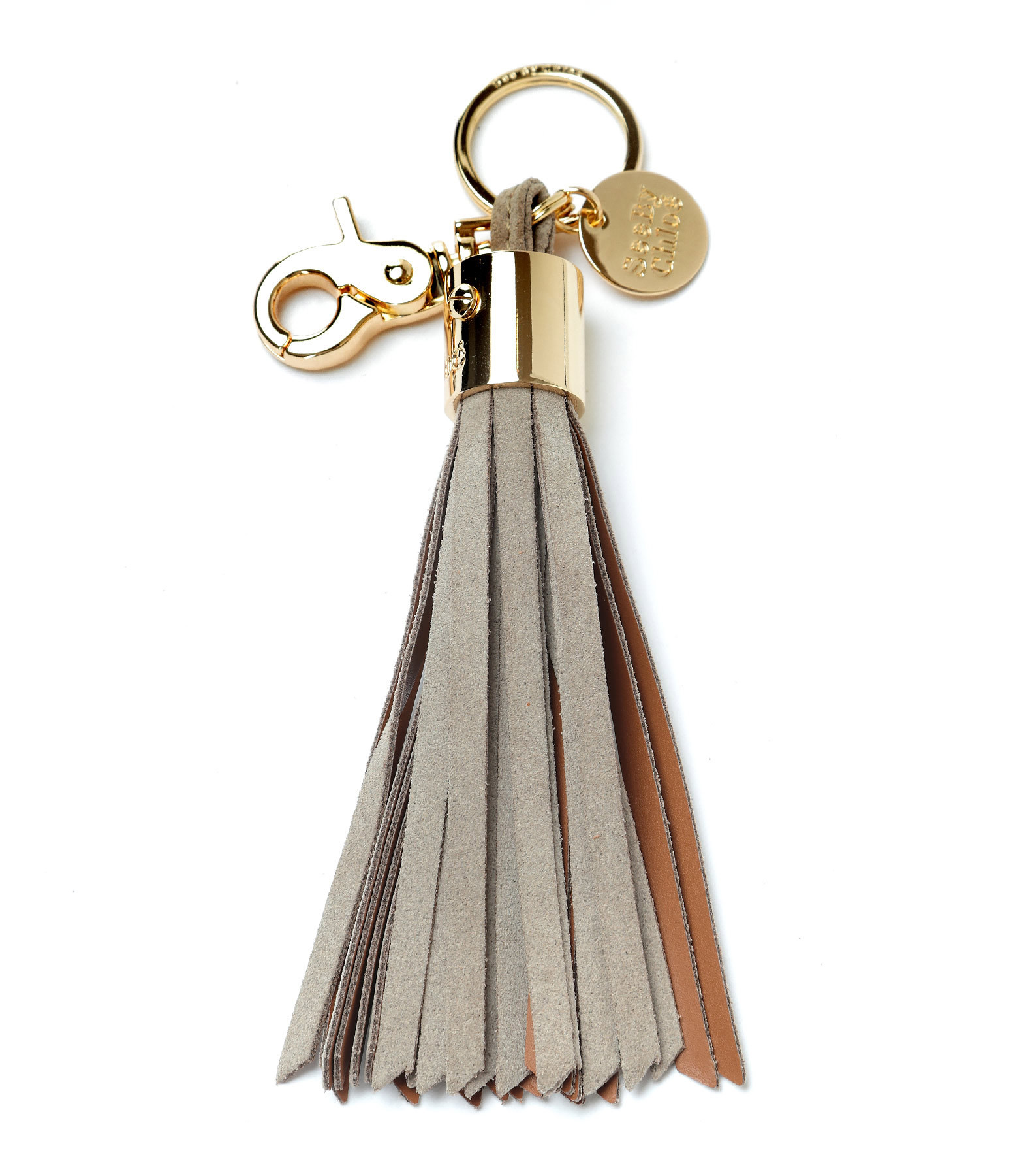 SEE BY CHLOE - Porte-clés Key Ring Pompon Cuir Suédé Motty Grey