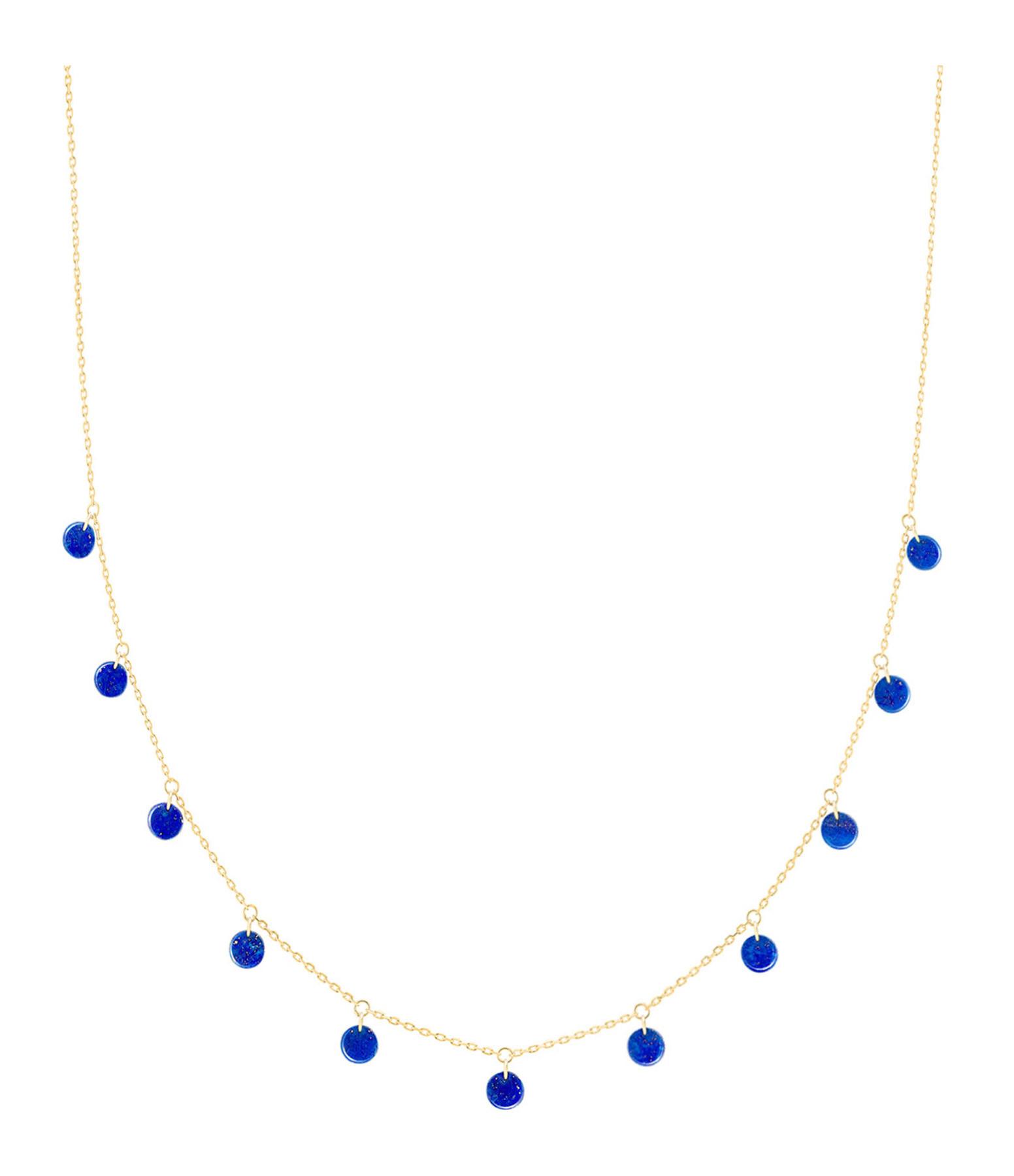 LA BRUNE & LA BLONDE - Collier Polka Or Jaune Pierres Lapis Lazuli