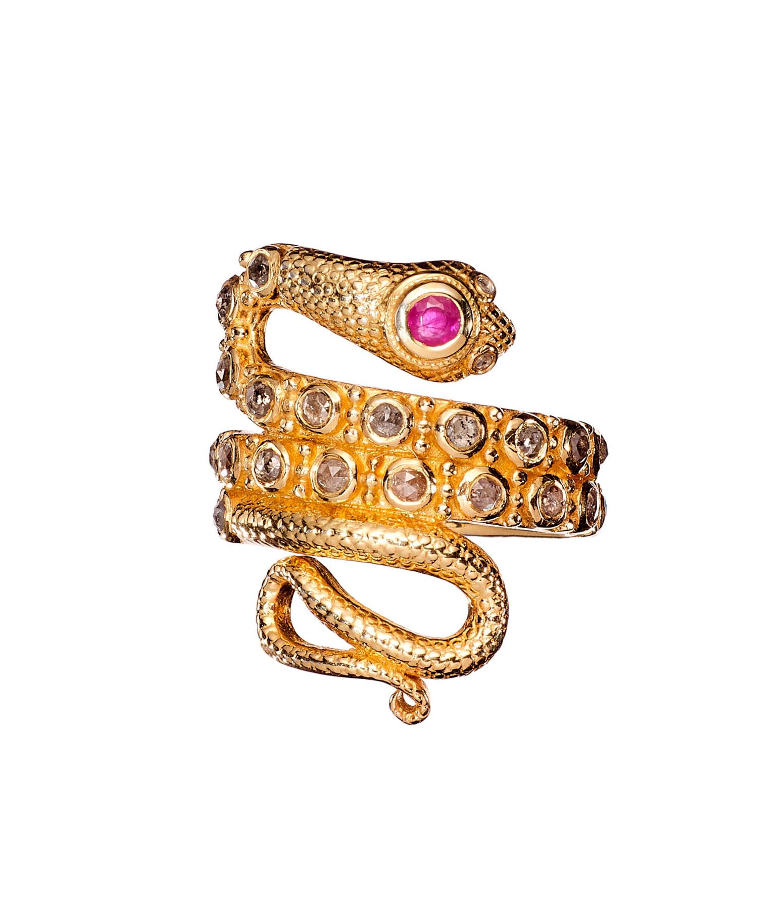 TITYARAVY - Bague Serpent Diamants Rubis Plaqué Or