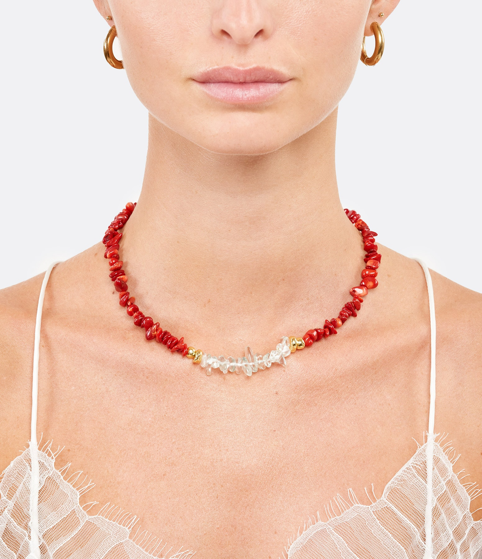 SHAKER JEWELS - Collier Pierres Rouges Plaqué Or