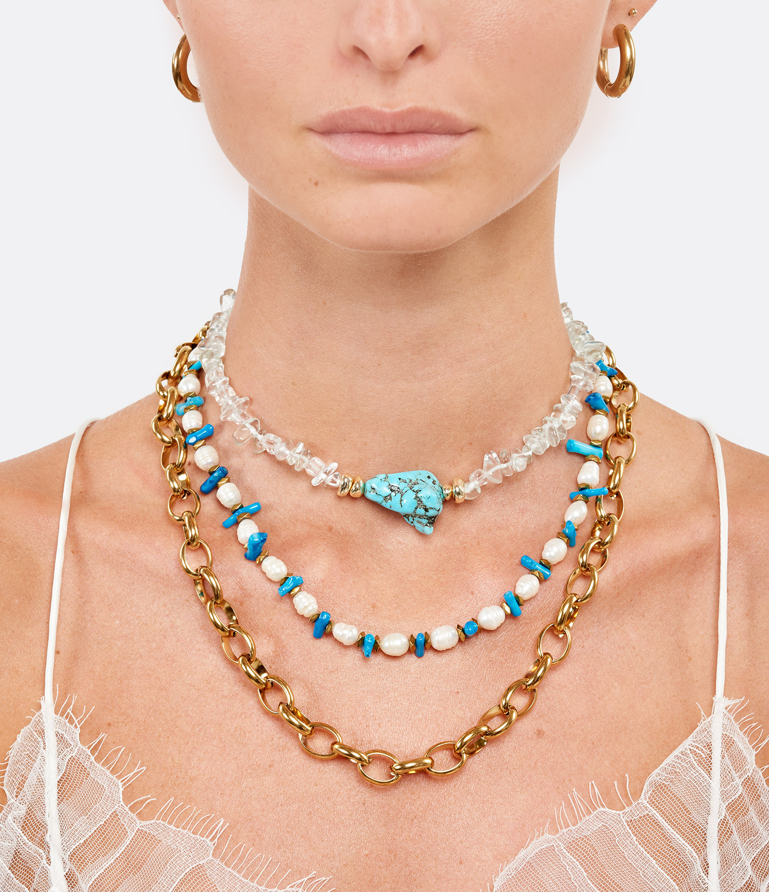 SHAKER JEWELS - Collier Perles Turquoise Plaqué Or