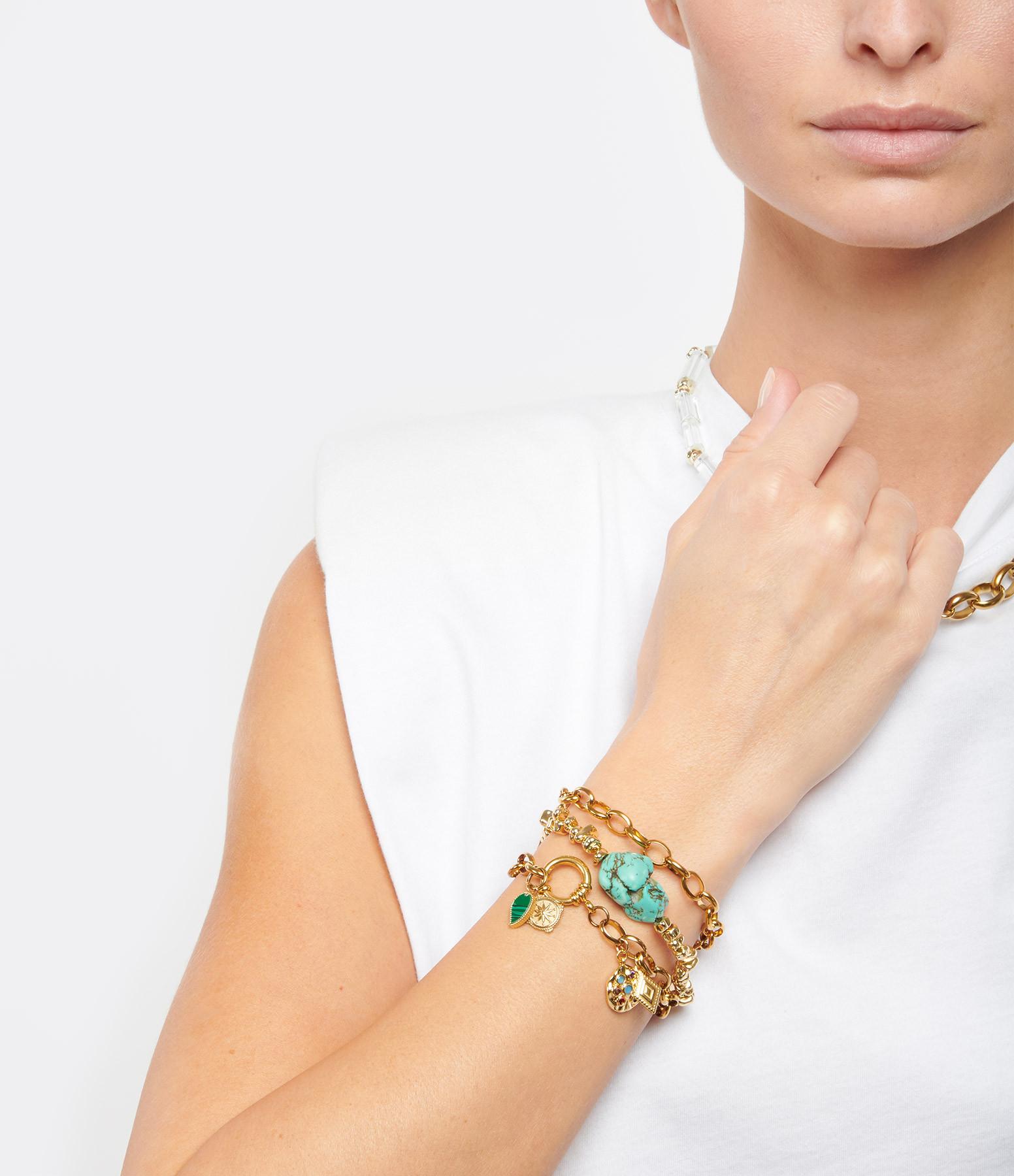SHAKER JEWELS - Bracelet Espodi Turquoise Hématite Plaqué Or