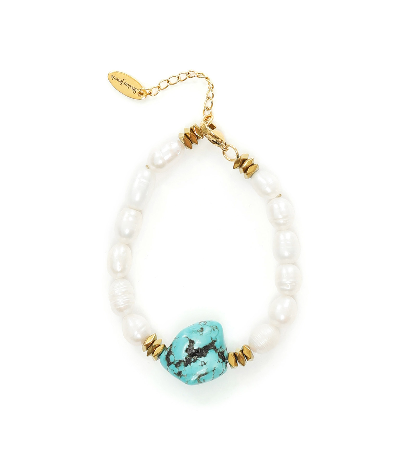 SHAKER JEWELS - Bracelet Perles Turquoise Plaqué Or