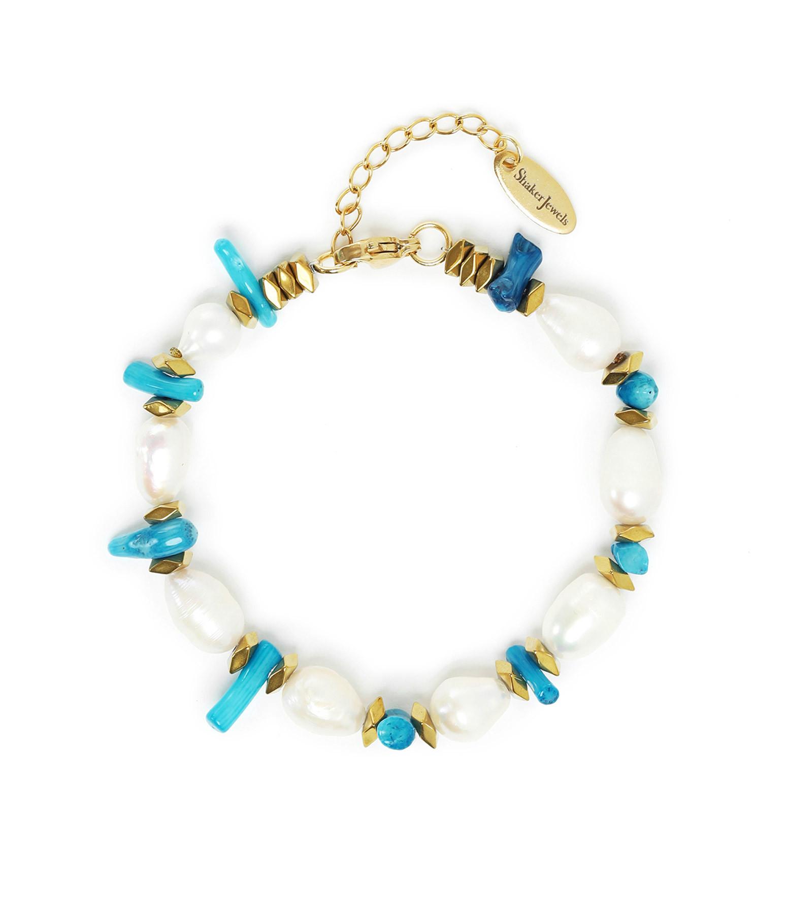 SHAKER JEWELS - Bracelet Turquoise Perles Plaqué Or