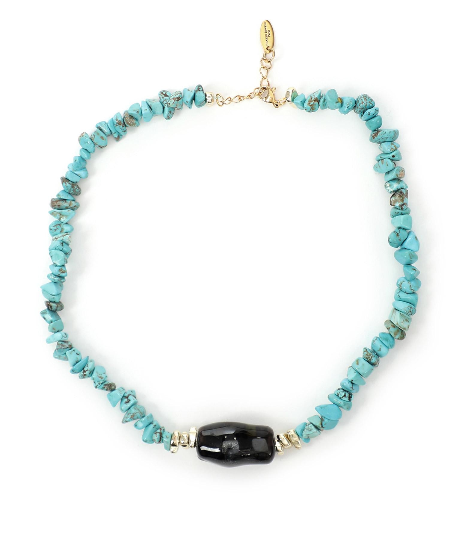SHAKER JEWELS - Collier Urika Turquoise Perles Pierre Noir