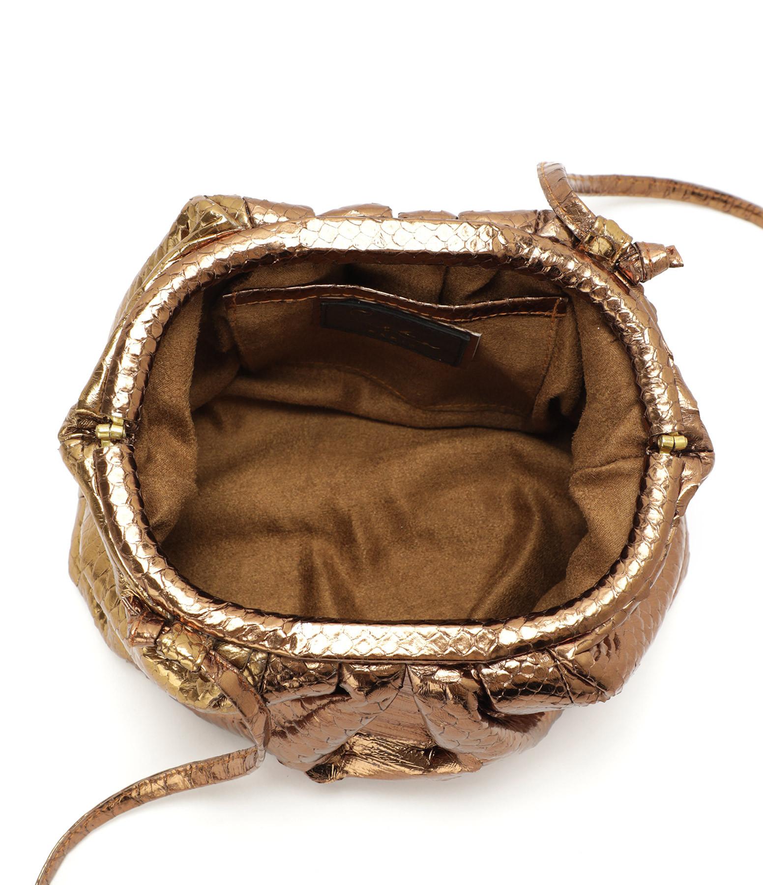 SISTA - Sac Baby Cuir Souple Python Bronze