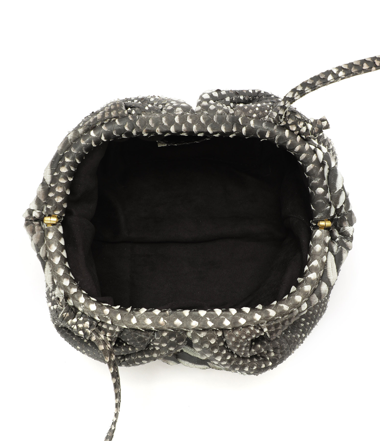 SISTA - Sac Baby Cuir Souple Python Noir Blanc