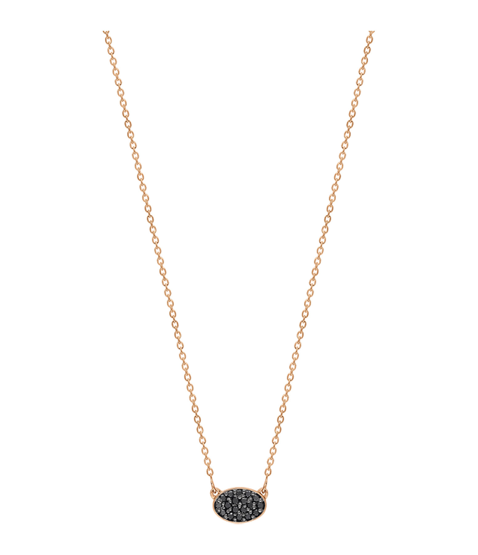 GINETTE_NY - Collier Sequin Mini Or Rose Diamants Noirs