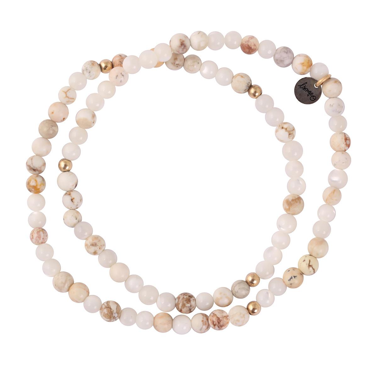 LSONGE - Bracelet 4 Perles Blanc