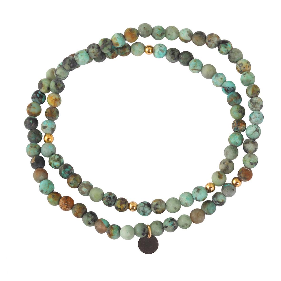 LSONGE - Bracelet 4 Perles Turquoise