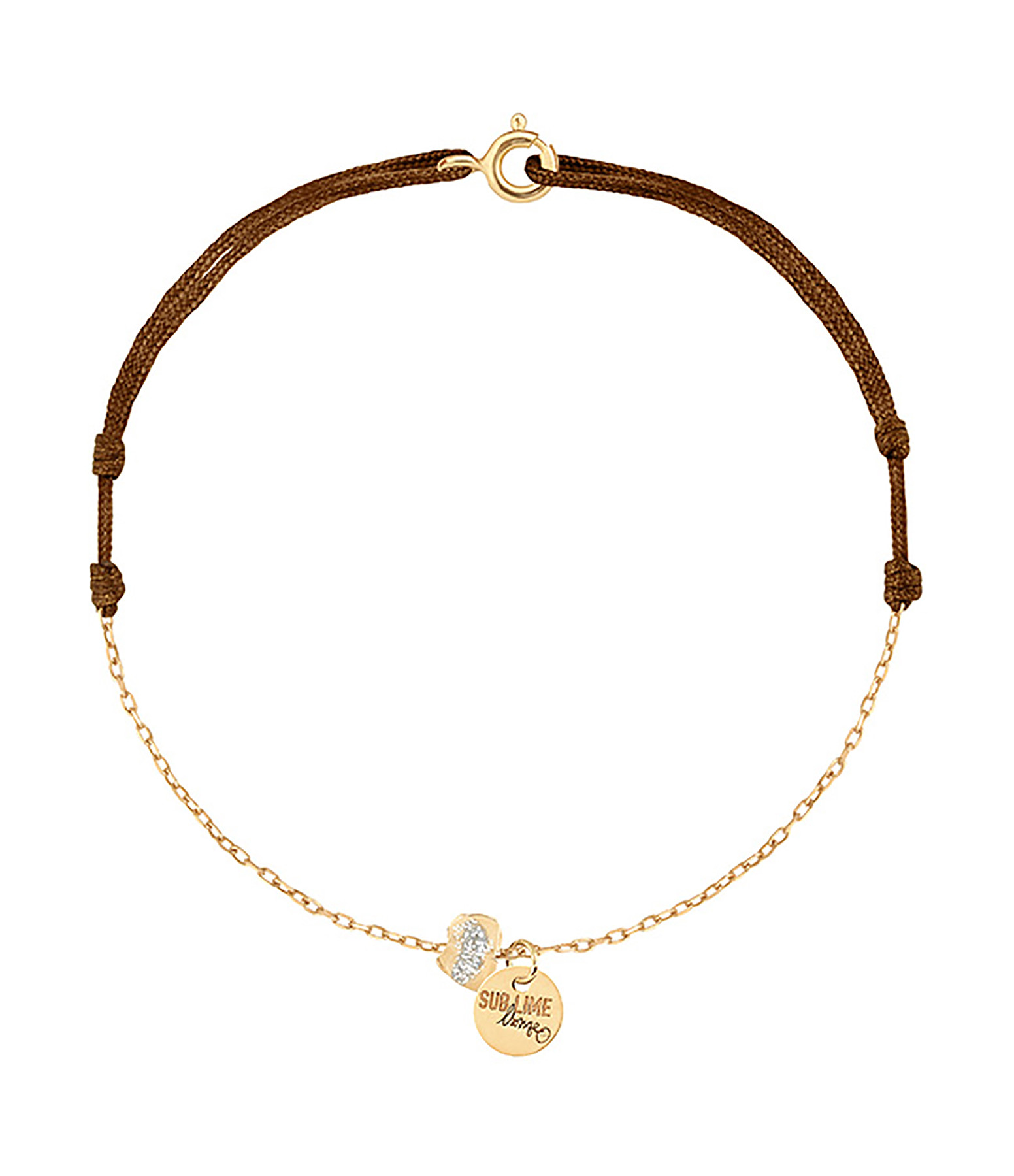 LSONGE - Bracelet Cordon Chaine Sublime Médaille Émail Or