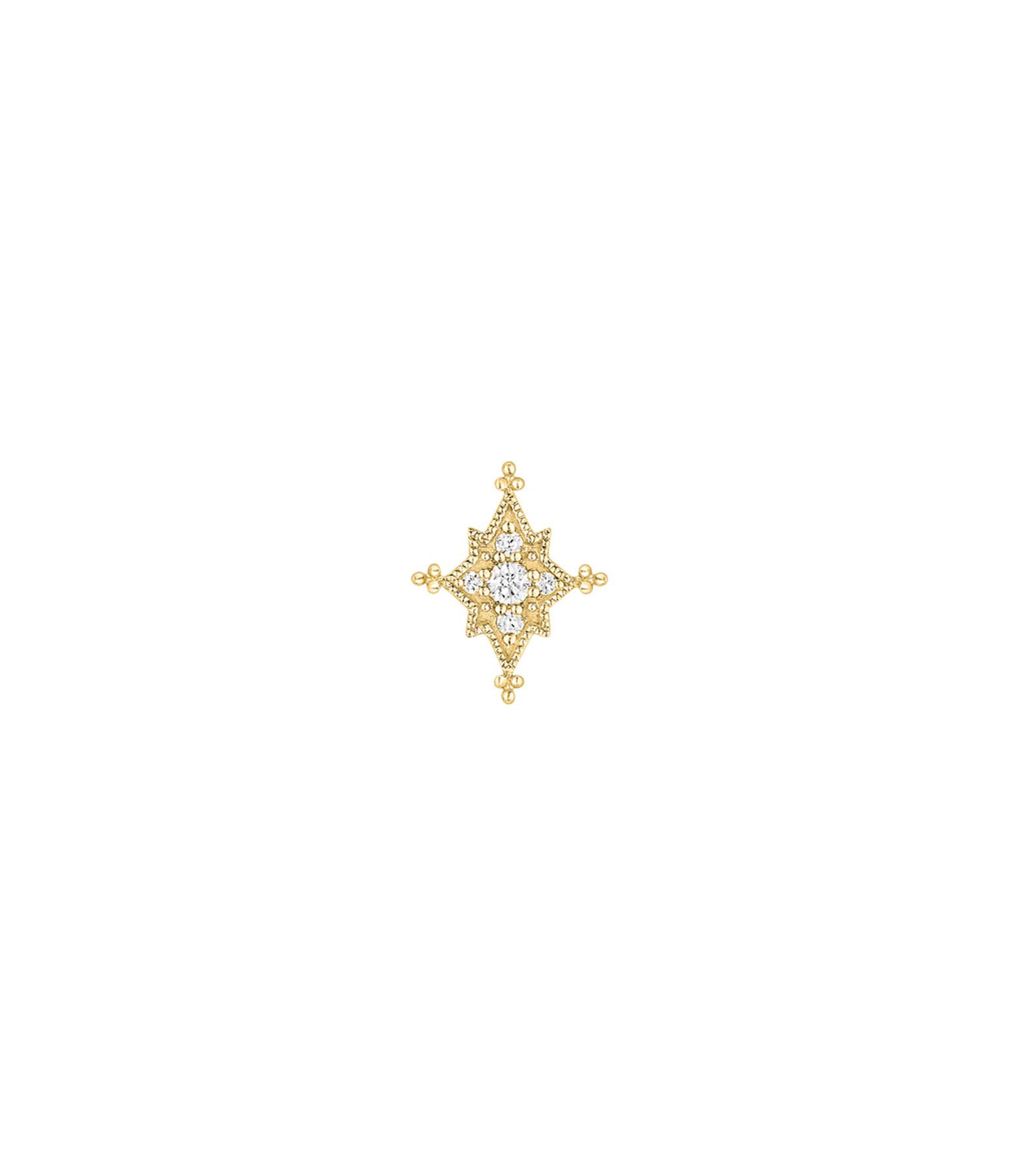 STONE PARIS - Boucle d'oreille Bouton Stella Diamants Or Jaune