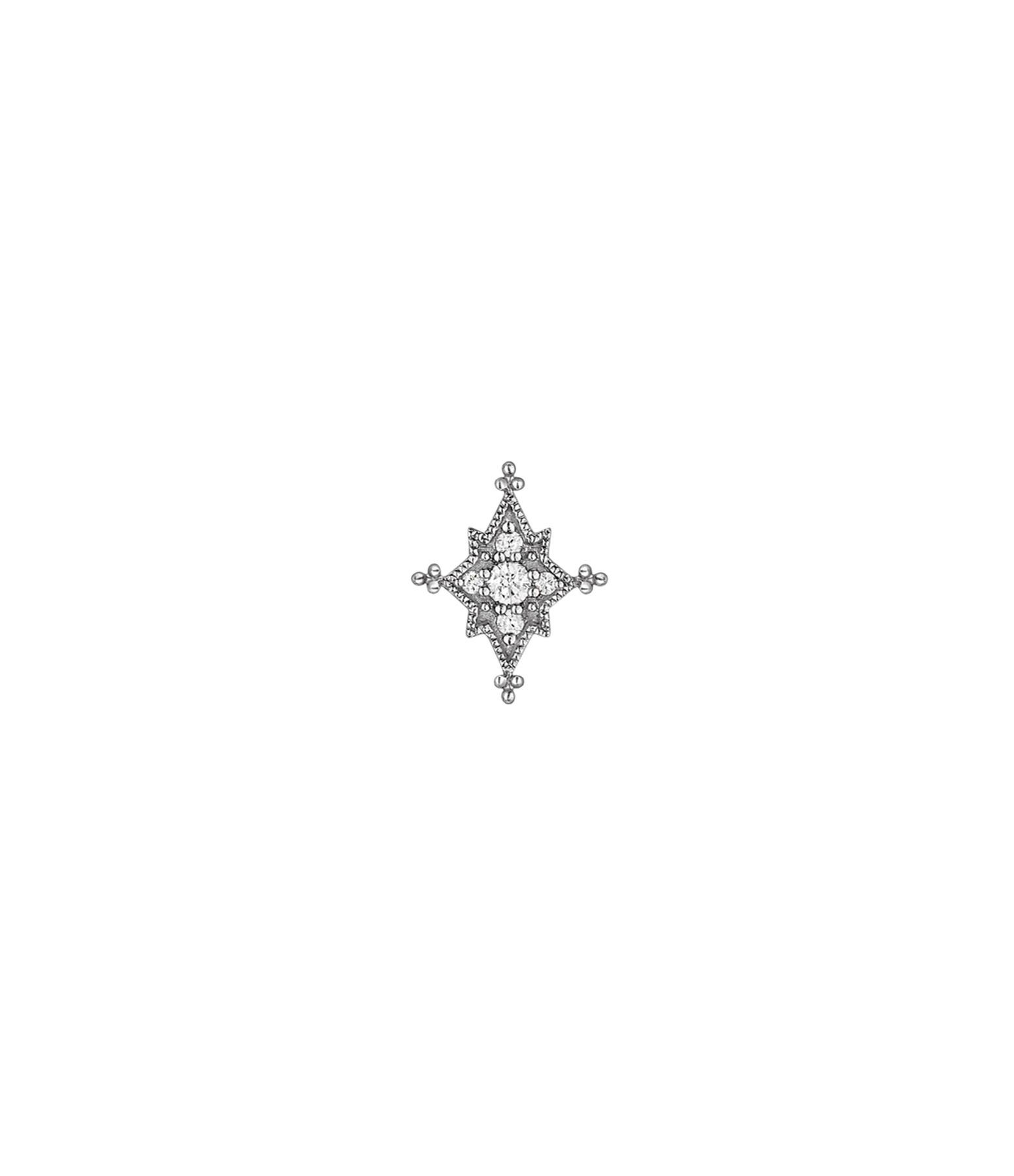 STONE PARIS - Boucle d'oreille Bouton Stella Diamants Or Noir