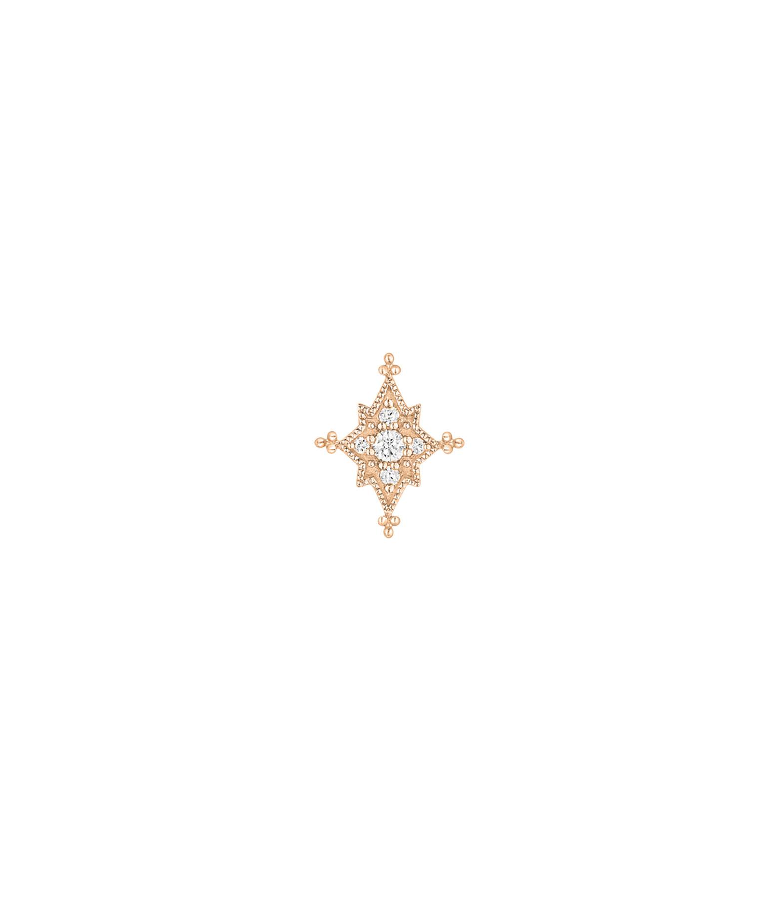 STONE PARIS - Boucle d'oreille Bouton Stella Diamants Or Rose