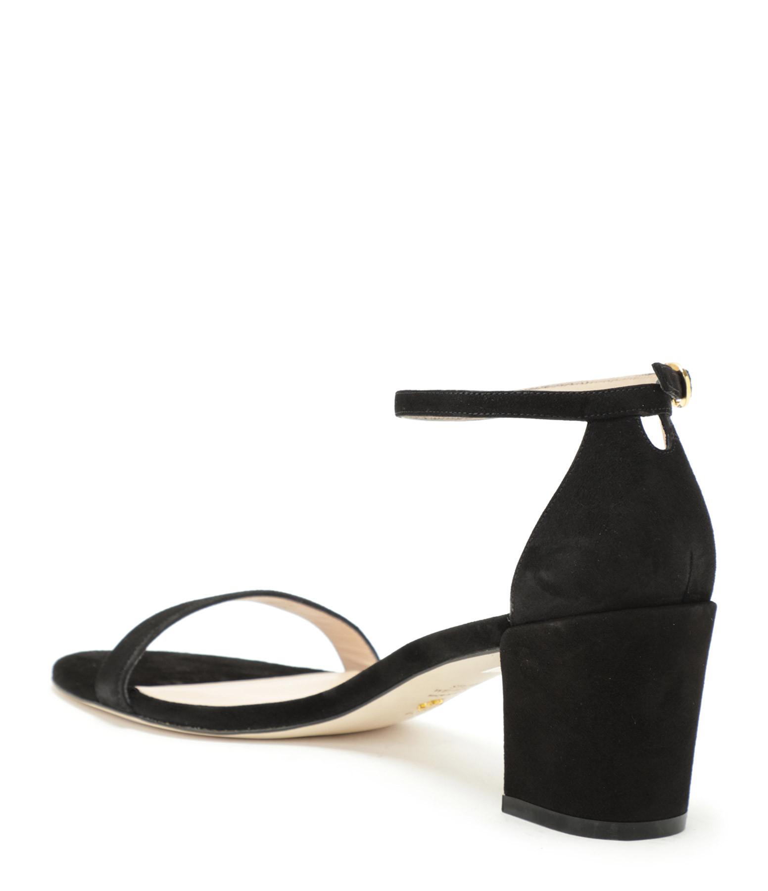 STUART WEITZMAN - Sandales Simple Cuir Suédé Noir