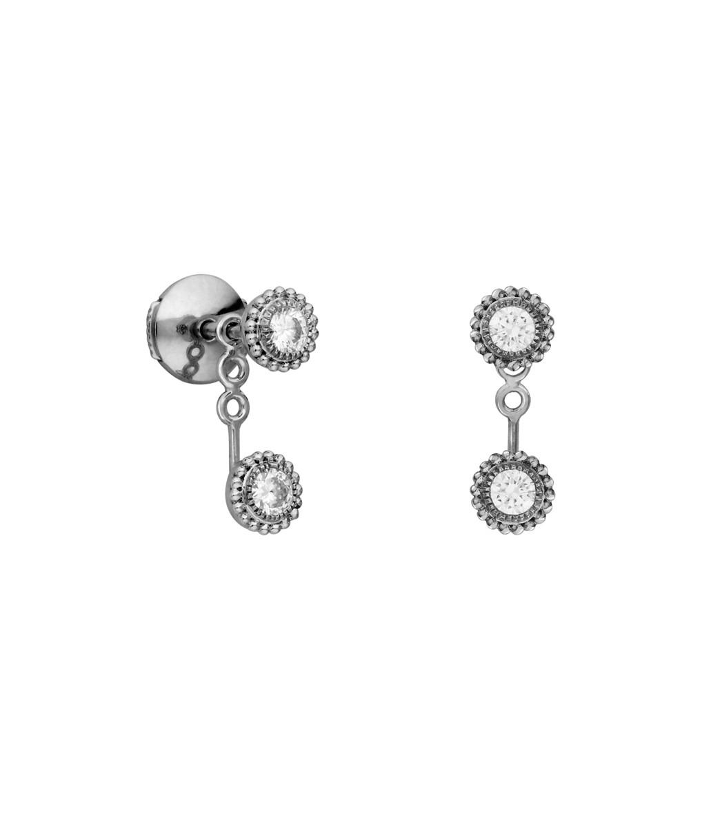 boucle d 39 oreille bouton double swan diamants vendue l. Black Bedroom Furniture Sets. Home Design Ideas