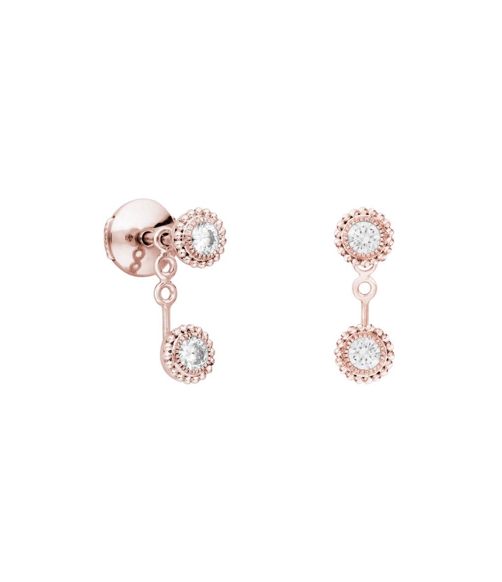 Boucle d'oreille Bouton Double Swan Diamants (vendue à l'unité) - STONE