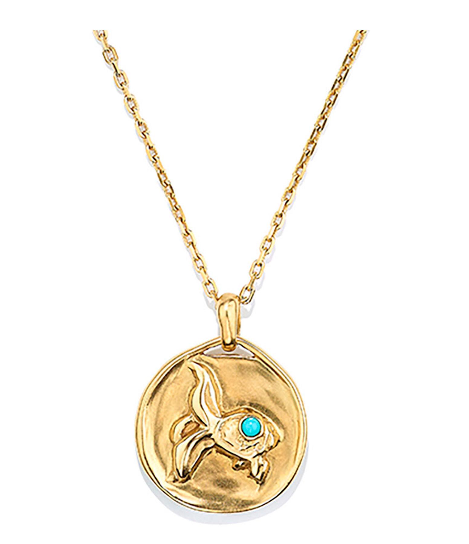 GOOSSENS - Collier Talisman Mini Astro Poisson Turquoise Plaqué Or