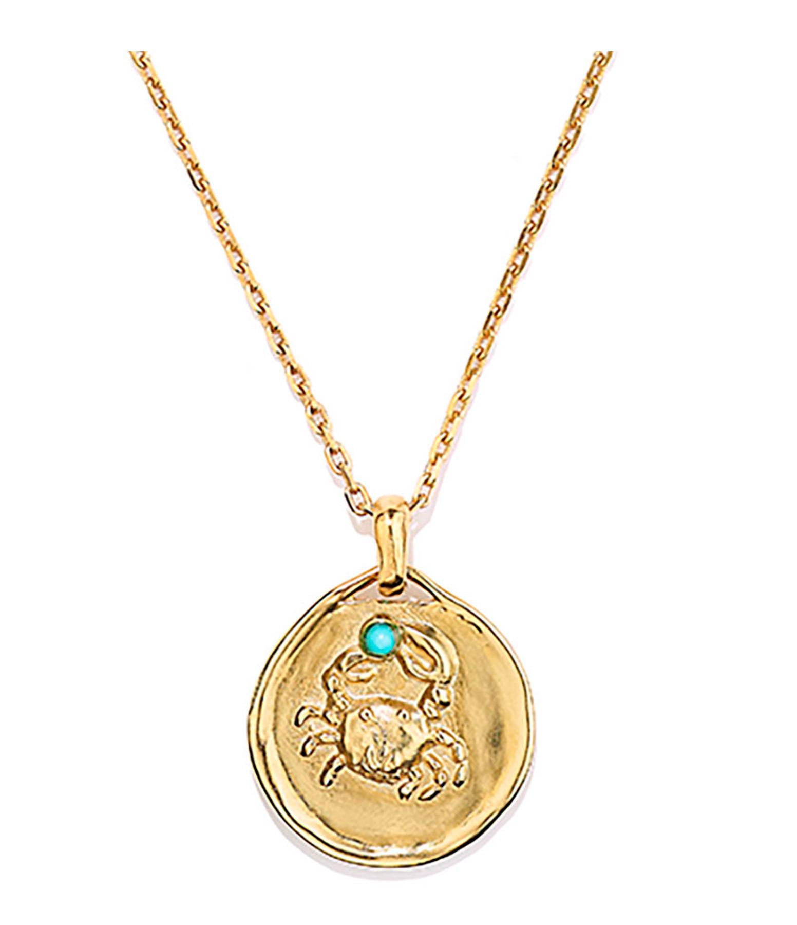 GOOSSENS - Collier Talisman Mini Astro Cancer Turquoise Plaqué Or