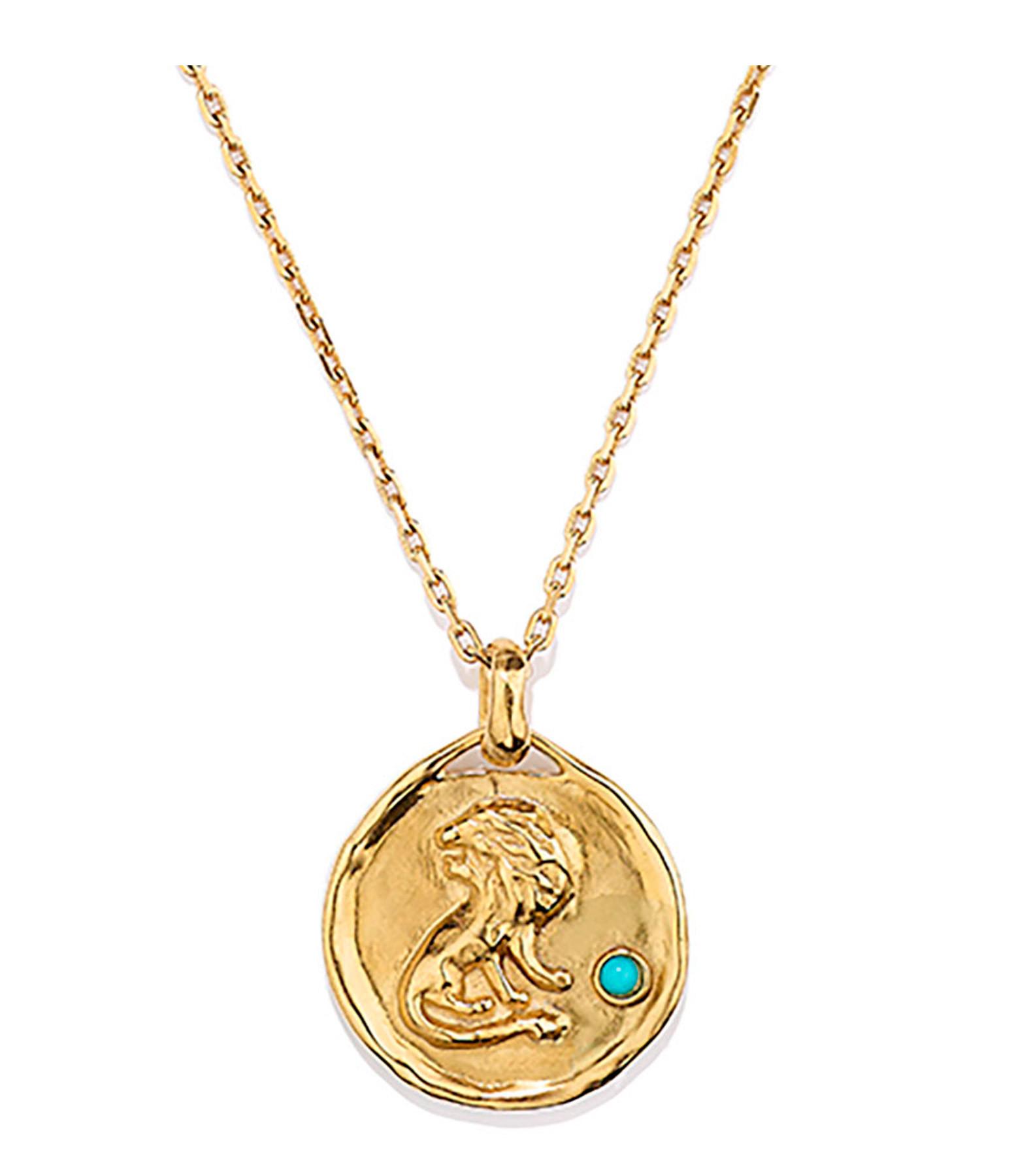 GOOSSENS - Collier Talisman Mini Astro Lion Turquoise Plaqué Or