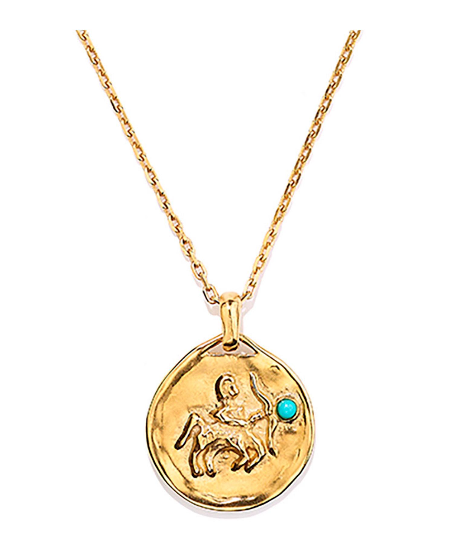GOOSSENS - Collier Talisman Mini Astro Sagittaire Turquoise Plaqué Or