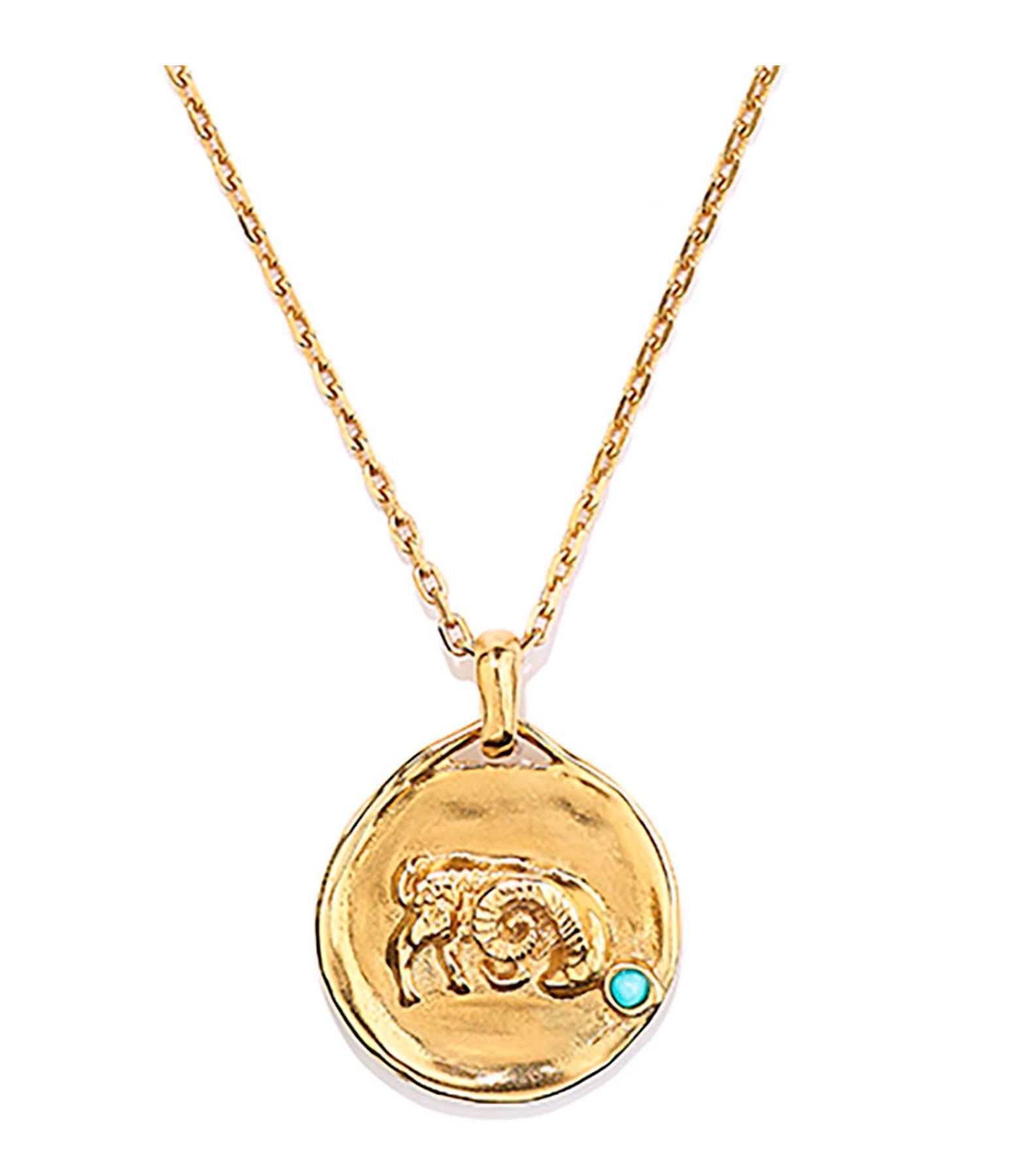 GOOSSENS - Collier Talisman Mini Astro Capricorne Turquoise Plaqué Or