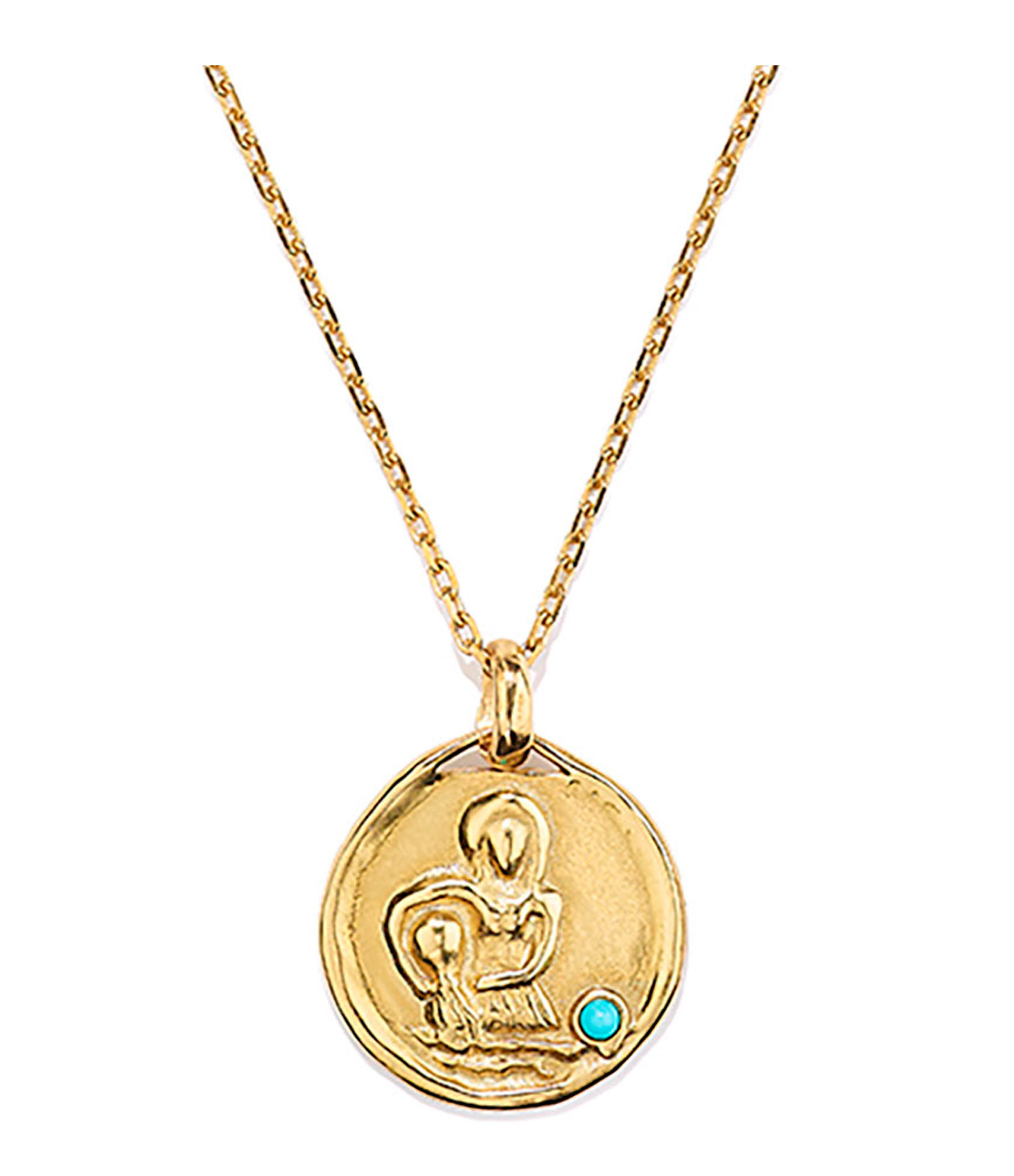 GOOSSENS - Collier Talisman Mini Astro Verseau Turquoise Plaqué Or