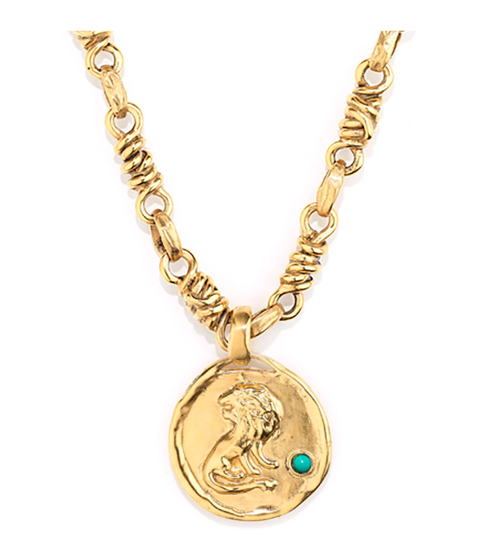 GOOSSENS - Collier Talisman Astro Lion Turquoise