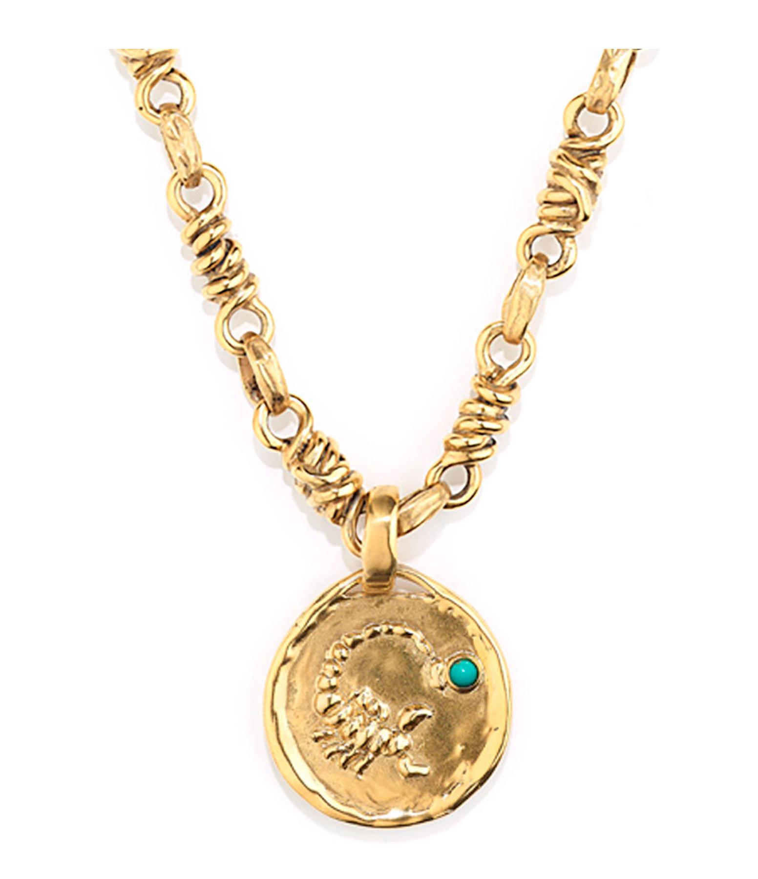 GOOSSENS - Collier Talisman Astro Scorpion Turquoise