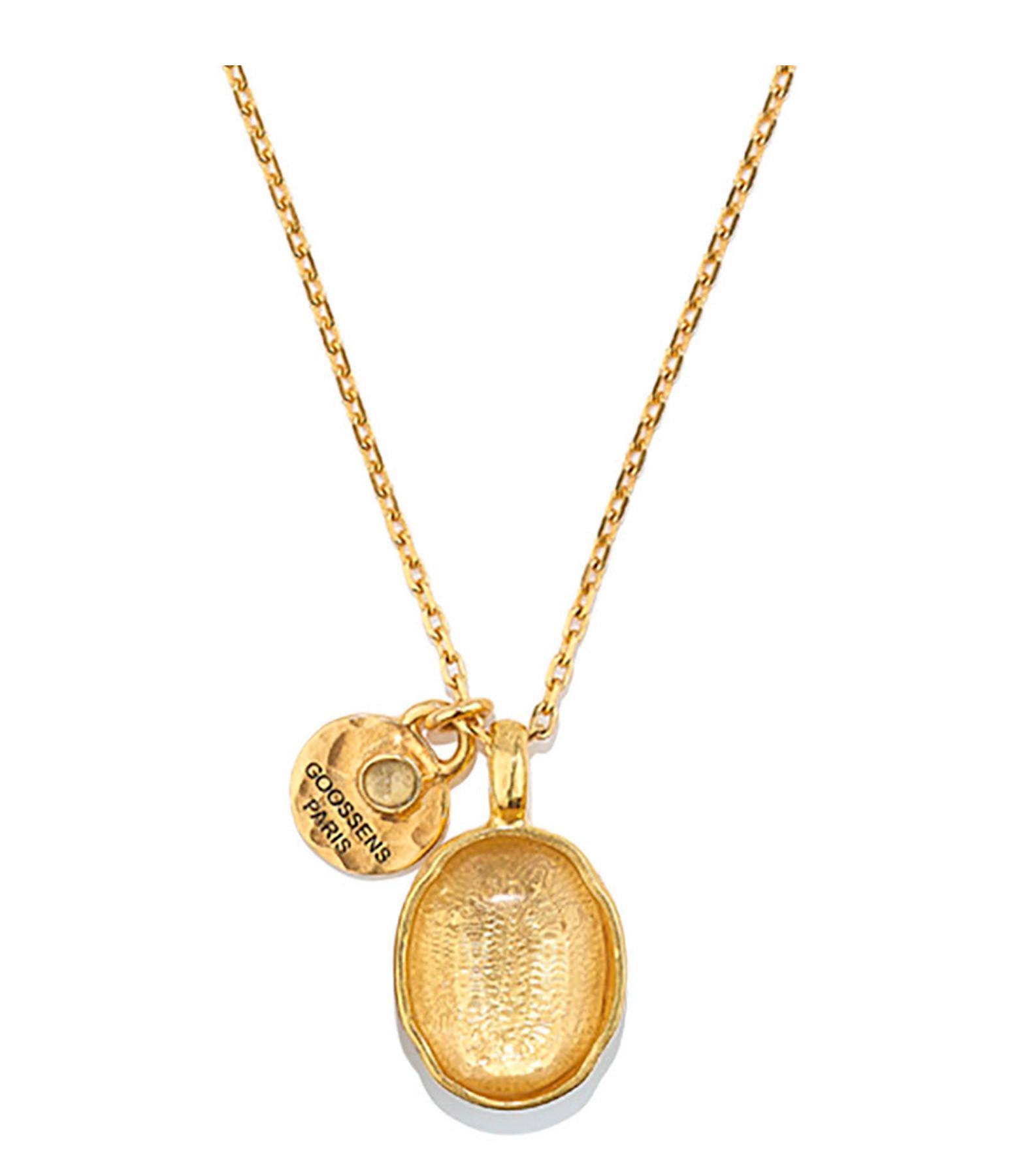 GOOSSENS - Collier Talisman Cabochon Cristal de Roche Naturel Plaqué Or
