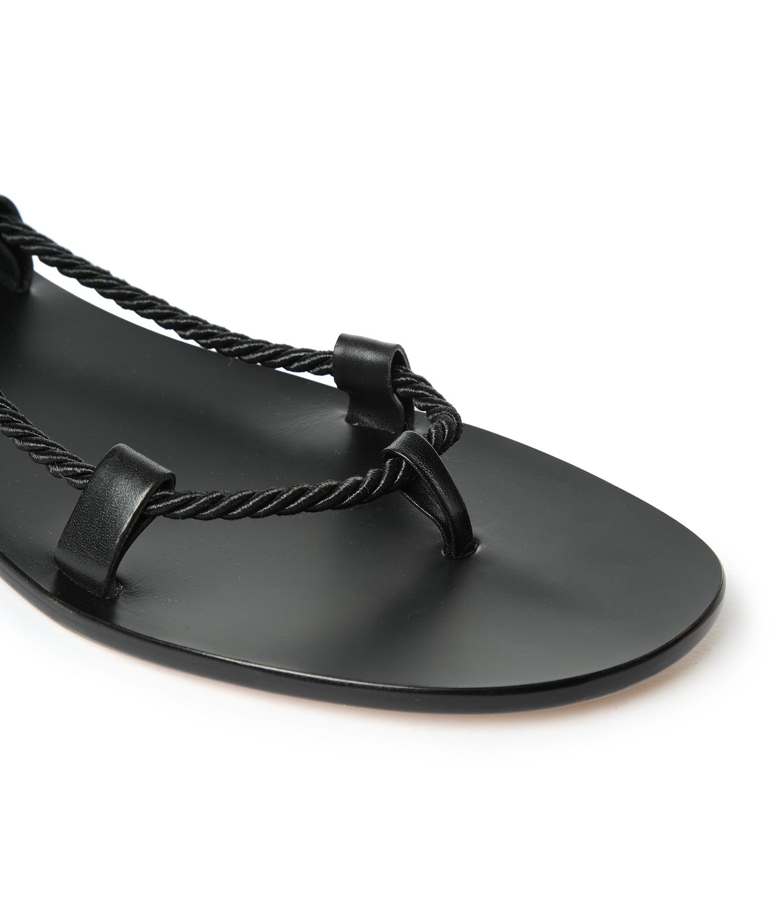 TARAH BLANCHE - Sandales Gladiateur Cuir Noir Cordes Noir