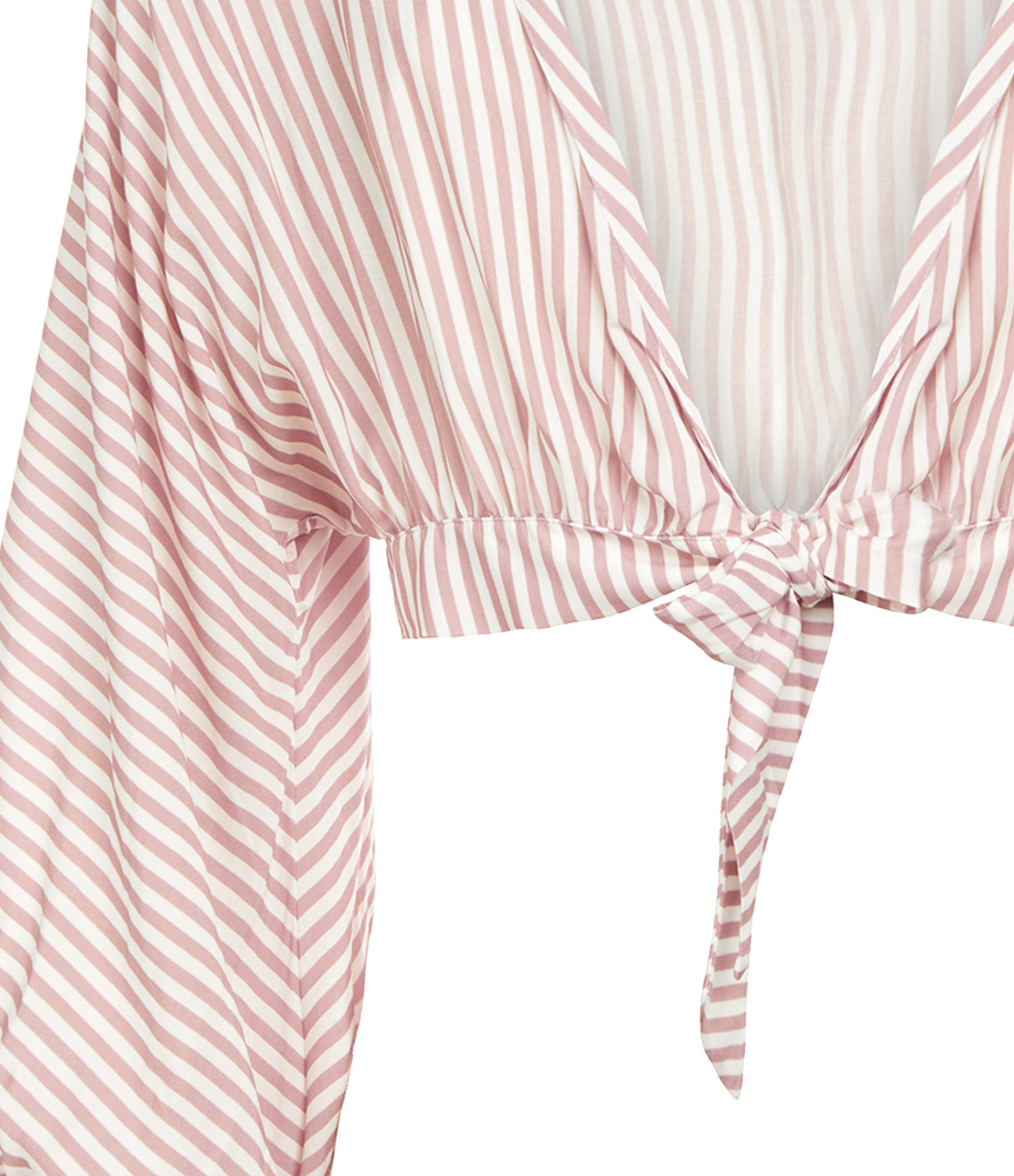 TATIANE DE FREITAS - Top Coton Rayures Rose