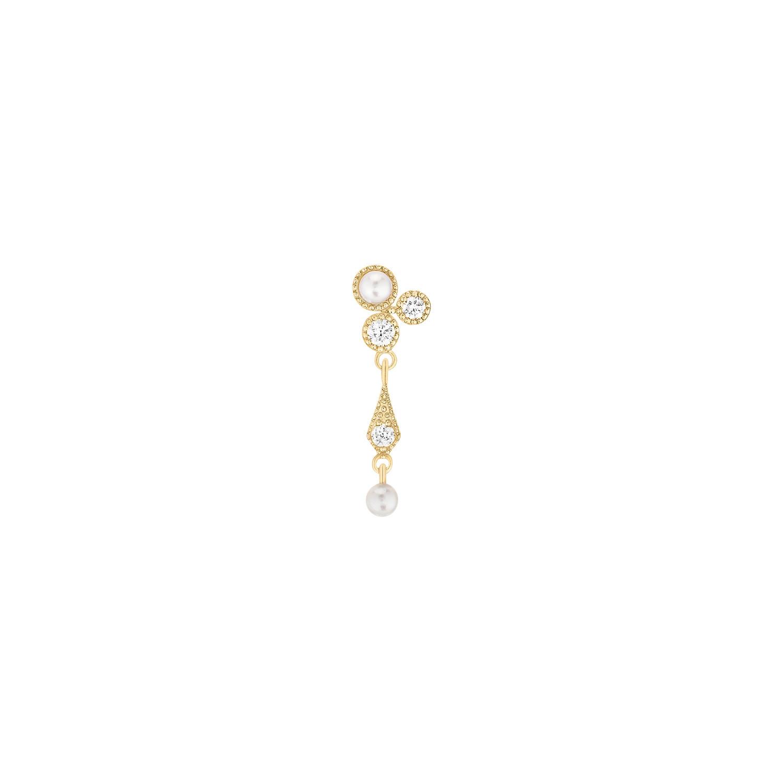 STONE PARIS - Boucle d'oreille Tears of Joy Or Diamants Perles (vendue à l'unité)