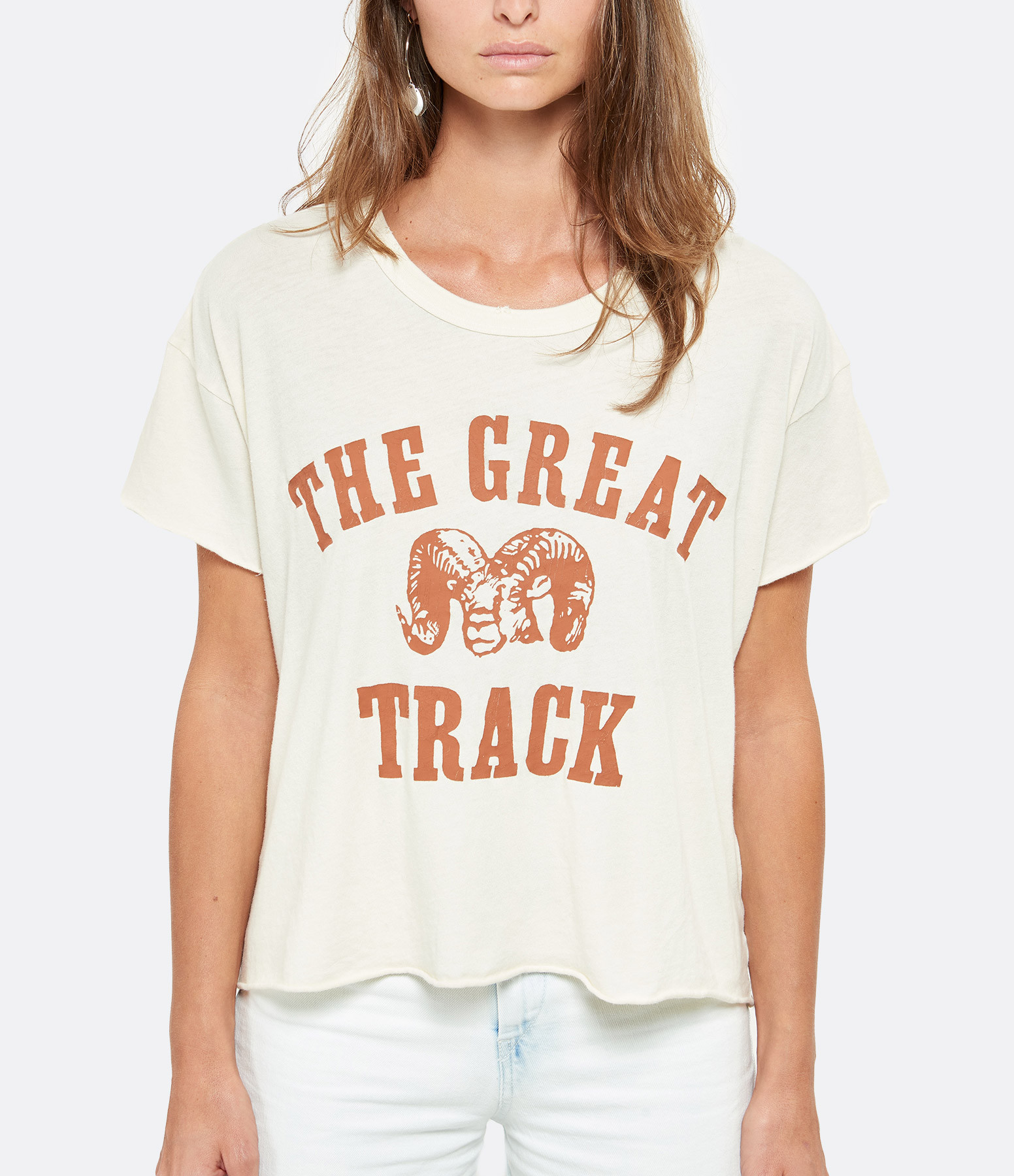 THE GREAT - Tee-shirt The Crop Coton Blanc Délavé