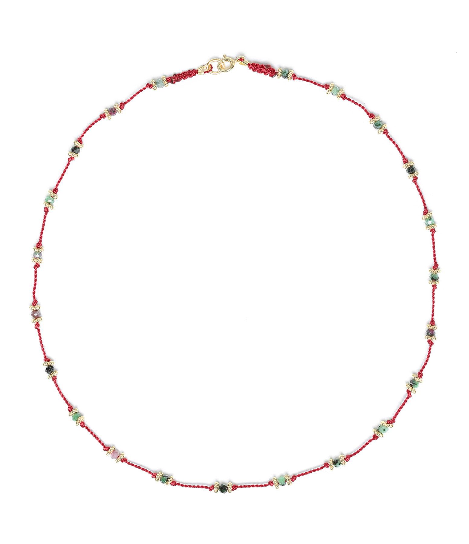 TITYARAVY - Collier Lotus Rouge Rubisoizite Plaqué Or