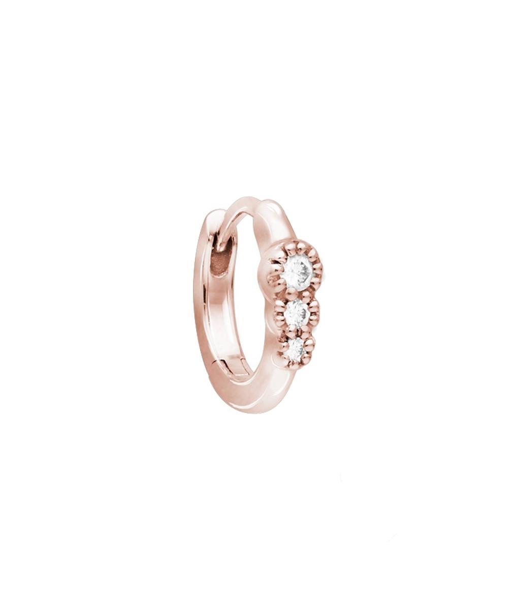 STONE PARIS - Mini Créole Trois Or Diamants (vendue à l'unité)