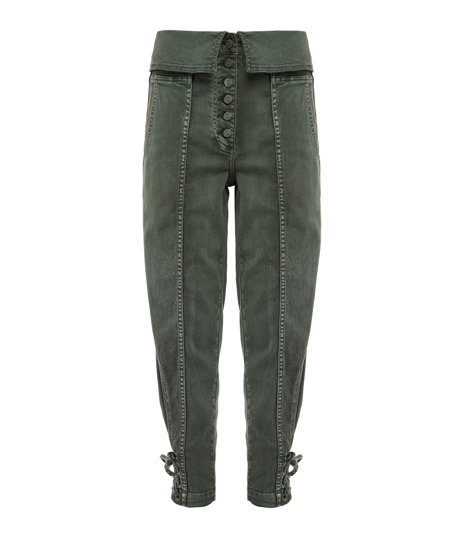ULLA JOHNSON - Pantalon Coton Denim Kingston Army