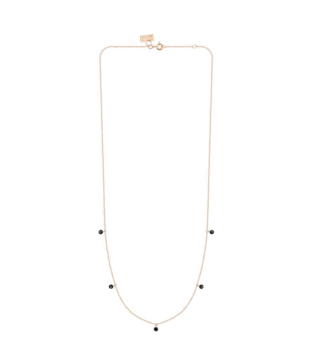 VANRYCKE - Collier Stardust Or Rose 5 Diamants Noir